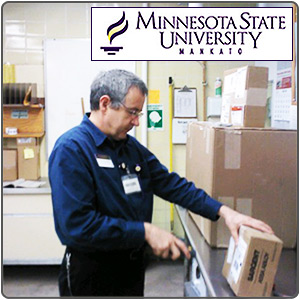 Minnesota State employee scanning packages with a TracerPlus mobile app.