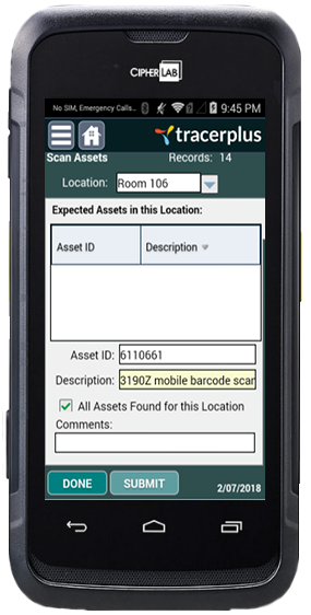 Asset Location Audit on CipherLab RS31