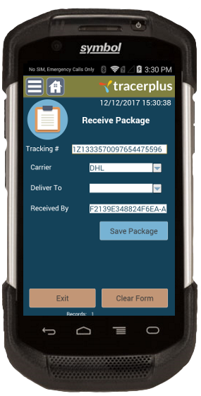 Internal package tracking receive form