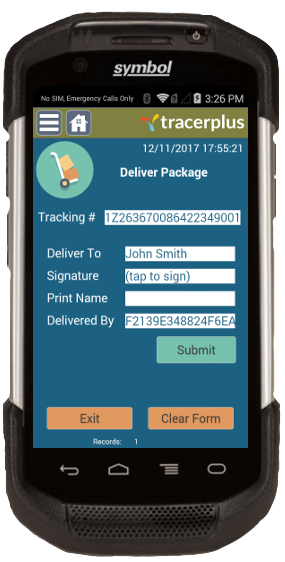 Internal Package Tracking Delivery Form