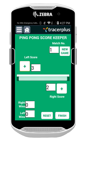 TracerPlus Ping Pong Score Tracking Application