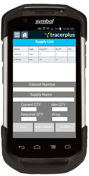 TracerPlus Mobile Supply Cabinet Inventory Application