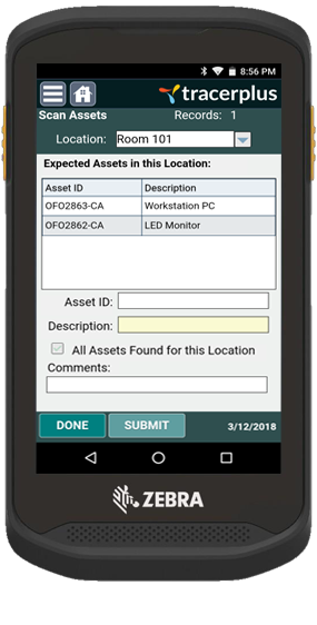 Asset Location Audit on Zebra TC20