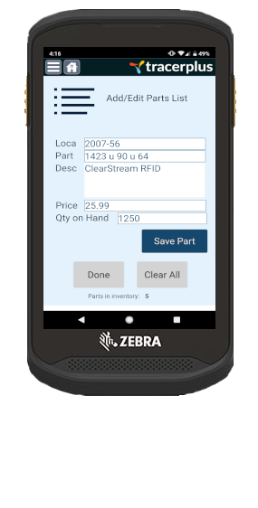 Android mobile sales application running on a Zebra TC20