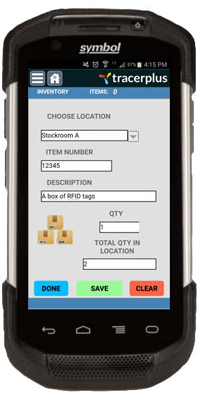 A TracerPlus Application on a Symbol Mobile Device