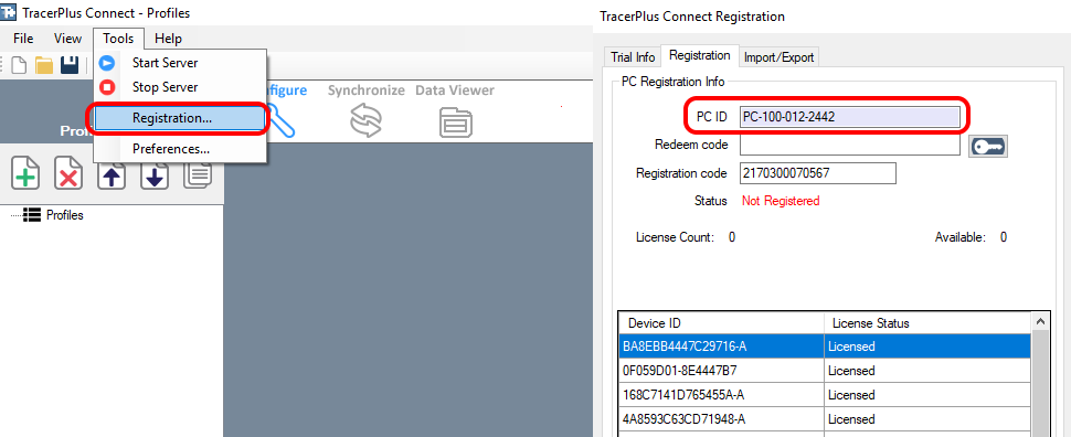 Registering your TracerPlus Connect syncing software